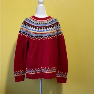 Land's End Red Fair Isle Sweater size Large